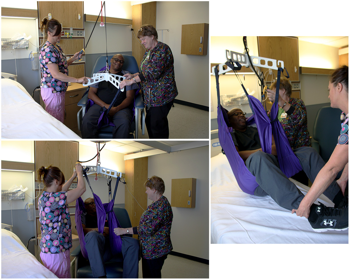 Nurses transfer patient using lift technology